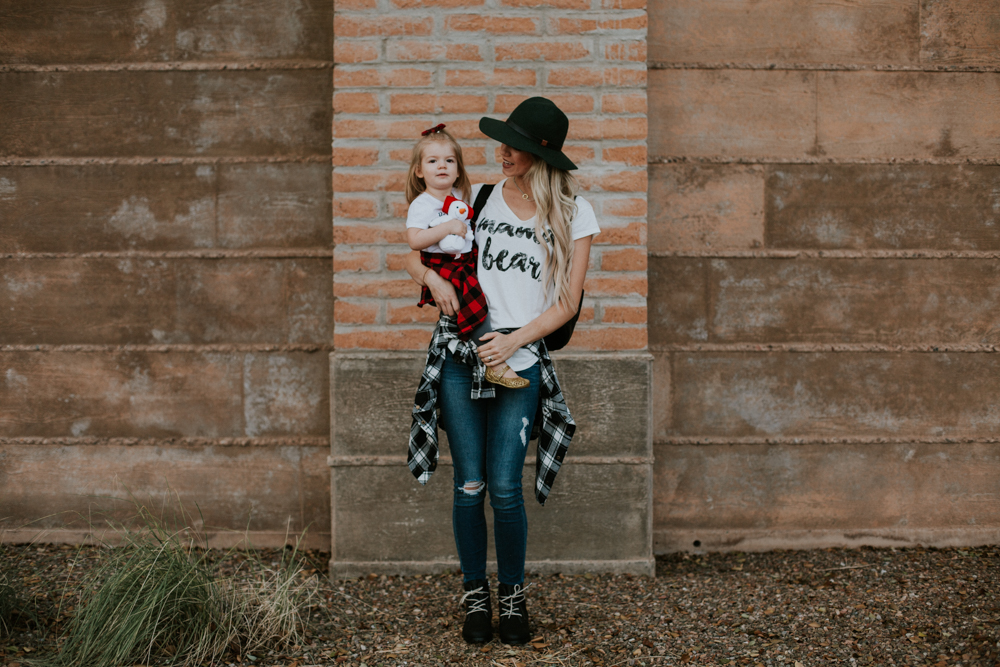 Mommy and Me Plaid and White Tees + A Link-Up