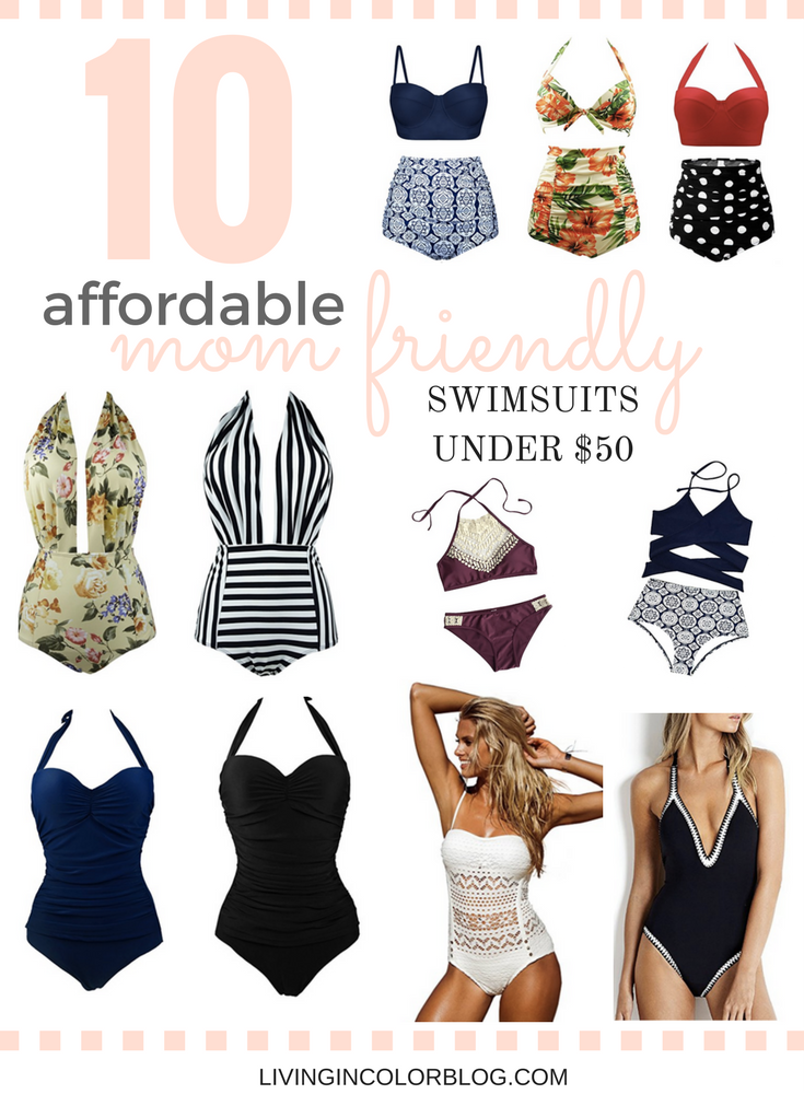 Lifestyle blogger Larissa of Living in Color shares ten affordable mom-friendly swimsuits that work well for nursing and hide unwanted areas.