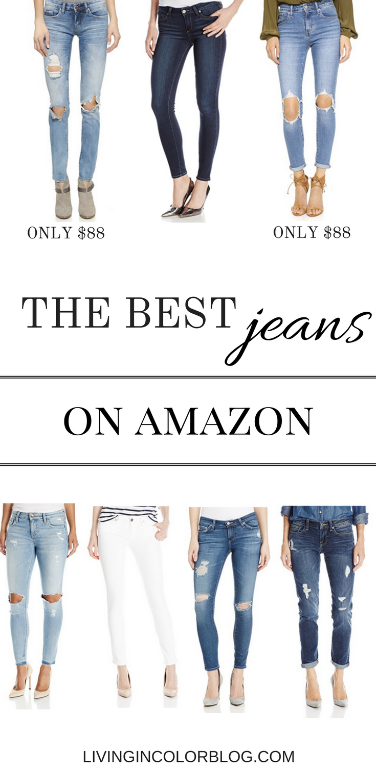 Style blogger, Larissa, of Living in Color shares the best jeans on Amazon (including brands like Blank NYC, and AG Jeans) finds available on Amazon.com.
