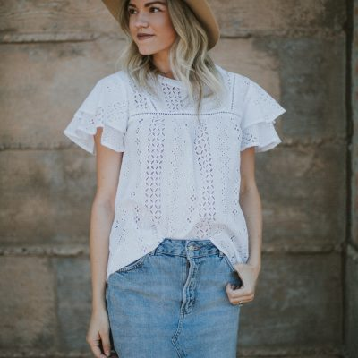 White Flutter Sleeve Eyelet Top + Link-Up
