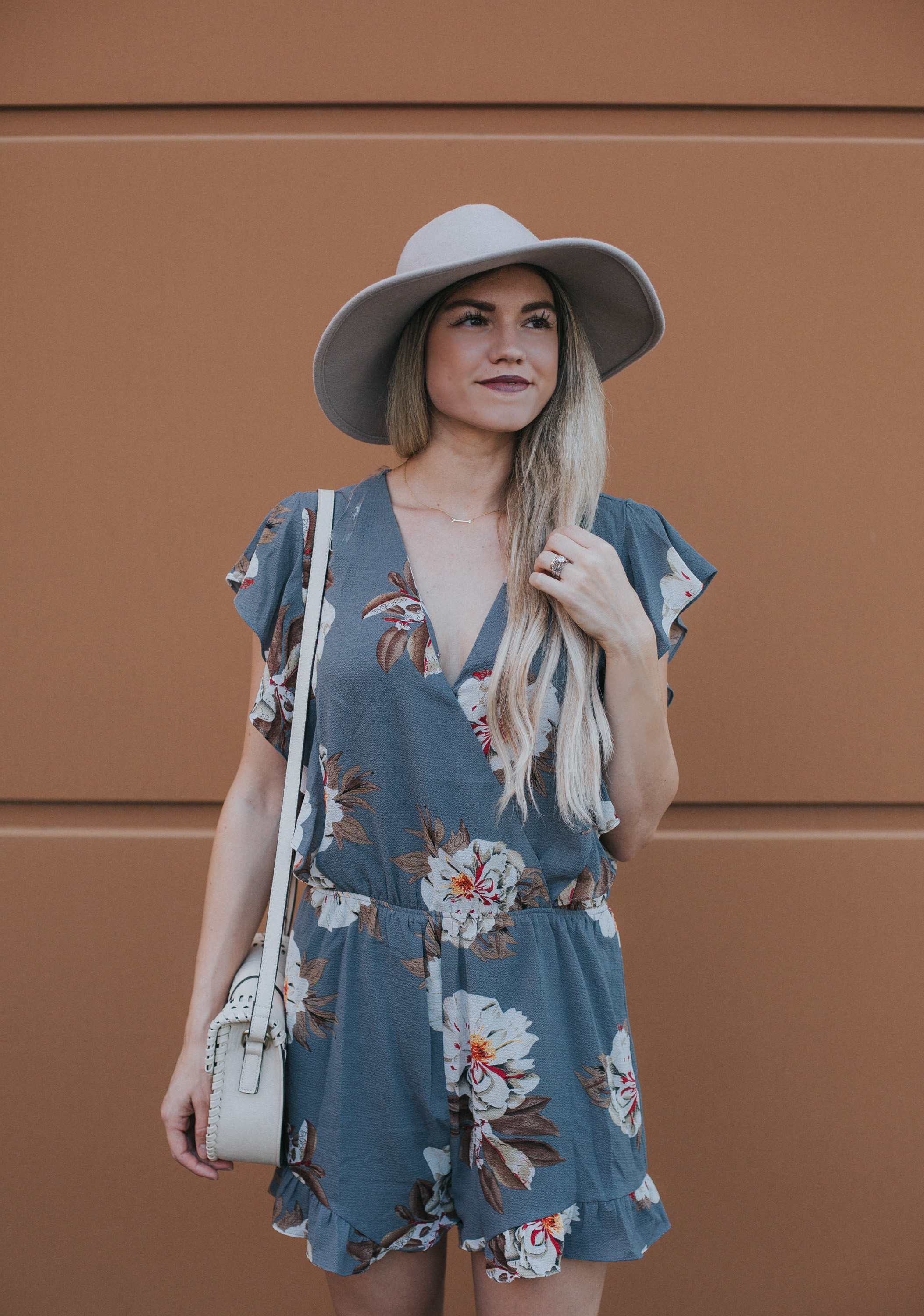 $39 Grey and Floral Romper + Link-up