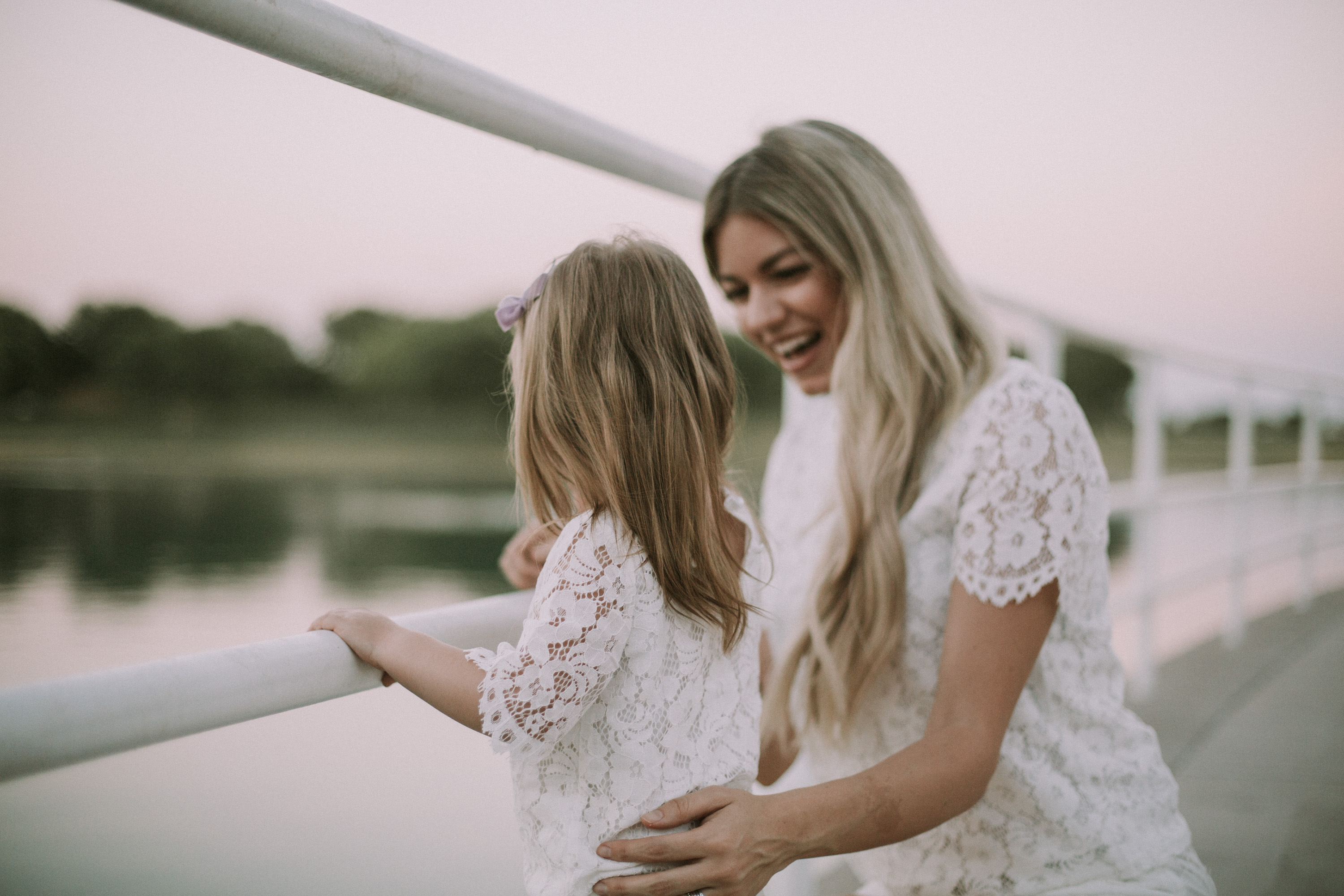 Mommy and Me White Lace Outfits + Link-Up