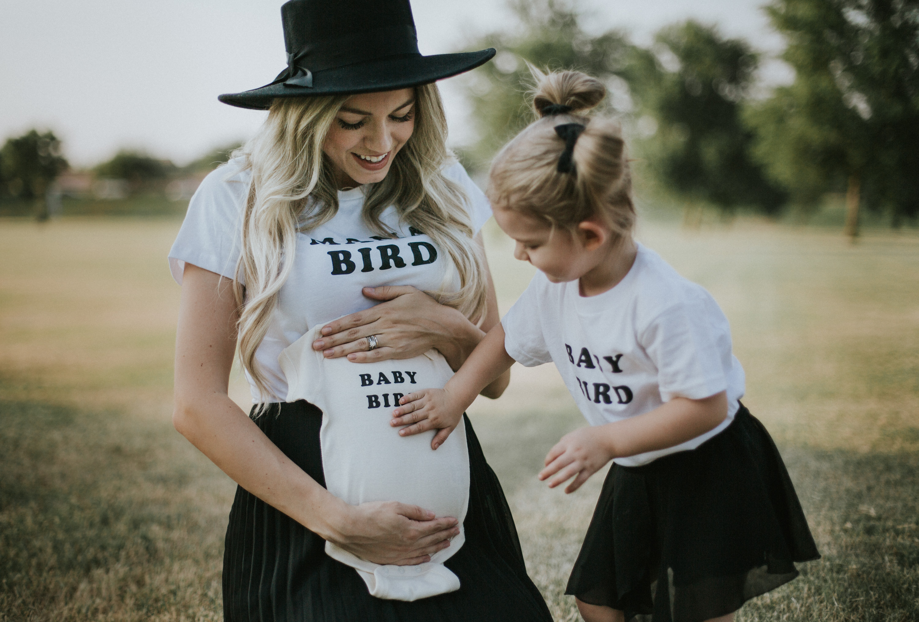 Fashion and beauty blogger Larissa from Living In Color Blog shares the cutest Mama Bird + Baby Bird(s) shirts. + A Pregnancy Announcement.