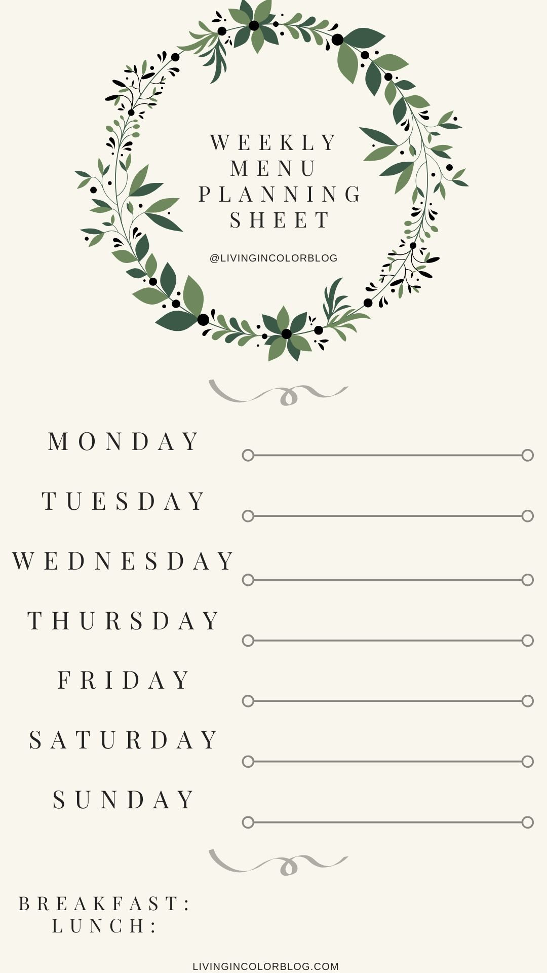 My Weekly Meal Planning Process With Downloadable Meal Plan Sheet Living In Color